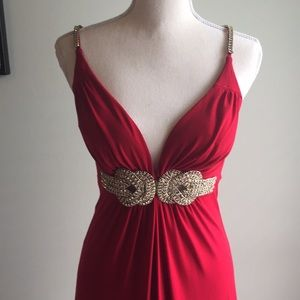 Janine of London Red Empire Formal, Crystal Detail
